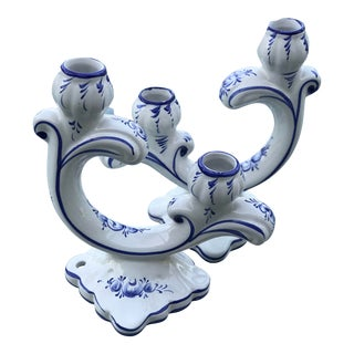 Portugal Blue and White Candle Holder's-Pair For Sale