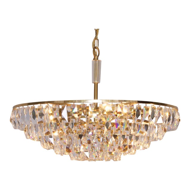 Extraordinary Huge Palwa Gilded Brass and Crystal Glass Chandelier For Sale