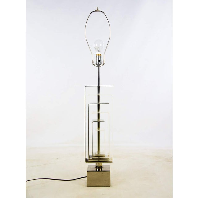 1970s Vintage Chrome and Lucite Table Lamp For Sale - Image 13 of 13