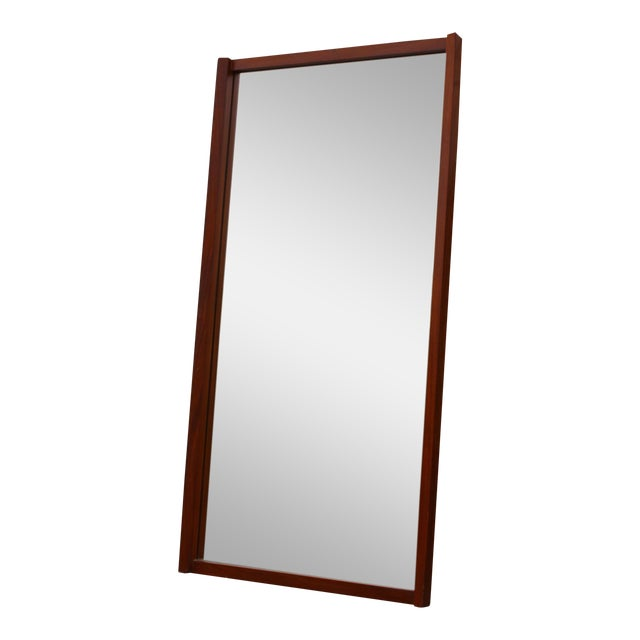 Large Danish Teak Mid Century Wall Mirror For Sale