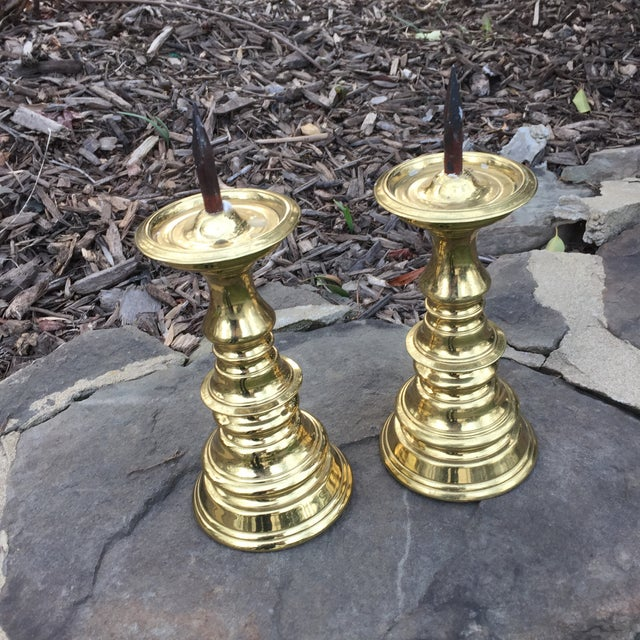 1970s Hollywood Regency Virginia Metalcrafters Brass Spiked Candle Stick Holders - a Pair For Sale In Baltimore - Image 6 of 6