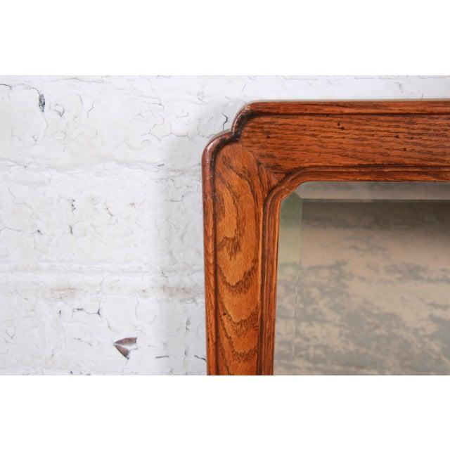 Wood Henredon Oak Beveled Mirror For Sale - Image 7 of 9