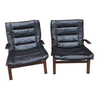 20th Century Scandinavian Rosewood and Leather Westnofa Siesta Chairs - a Pair