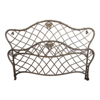 1990s Art Nouveau Iron Bow and Tassel King Bedframe For Sale