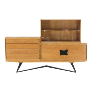 Mid Century Modern Four Piece Dresser Bookcase Storage Cabinet For Sale