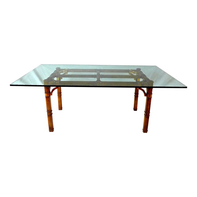 Hollywood Regency Bamboo & Glass Dining Table For Sale