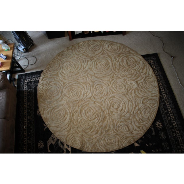 1970s Charles Rennie Mackintosh Roses Round Art Nouveau Rug - 8' x 8' For Sale - Image 5 of 5