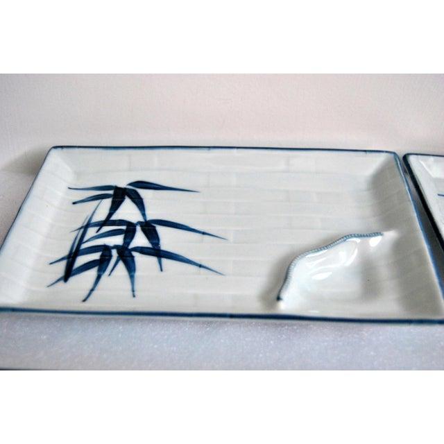 Blue & White Celadon Yakizara Japanese Divided Plates - Set of 4 For Sale - Image 4 of 8