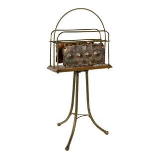 1920s Vintage Arts & Crafts Welded Copper and Wood Tripod Magazine Rack Stand For Sale