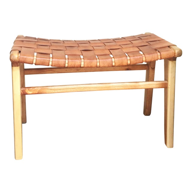 Admirable Leather Strap Ottoman Gmtry Best Dining Table And Chair Ideas Images Gmtryco