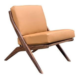 Contemporary Walnut Slipper Chair- Custom Made For Sale