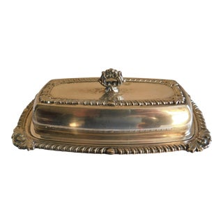 Mid Century Silver Plate Butter Dish For Sale