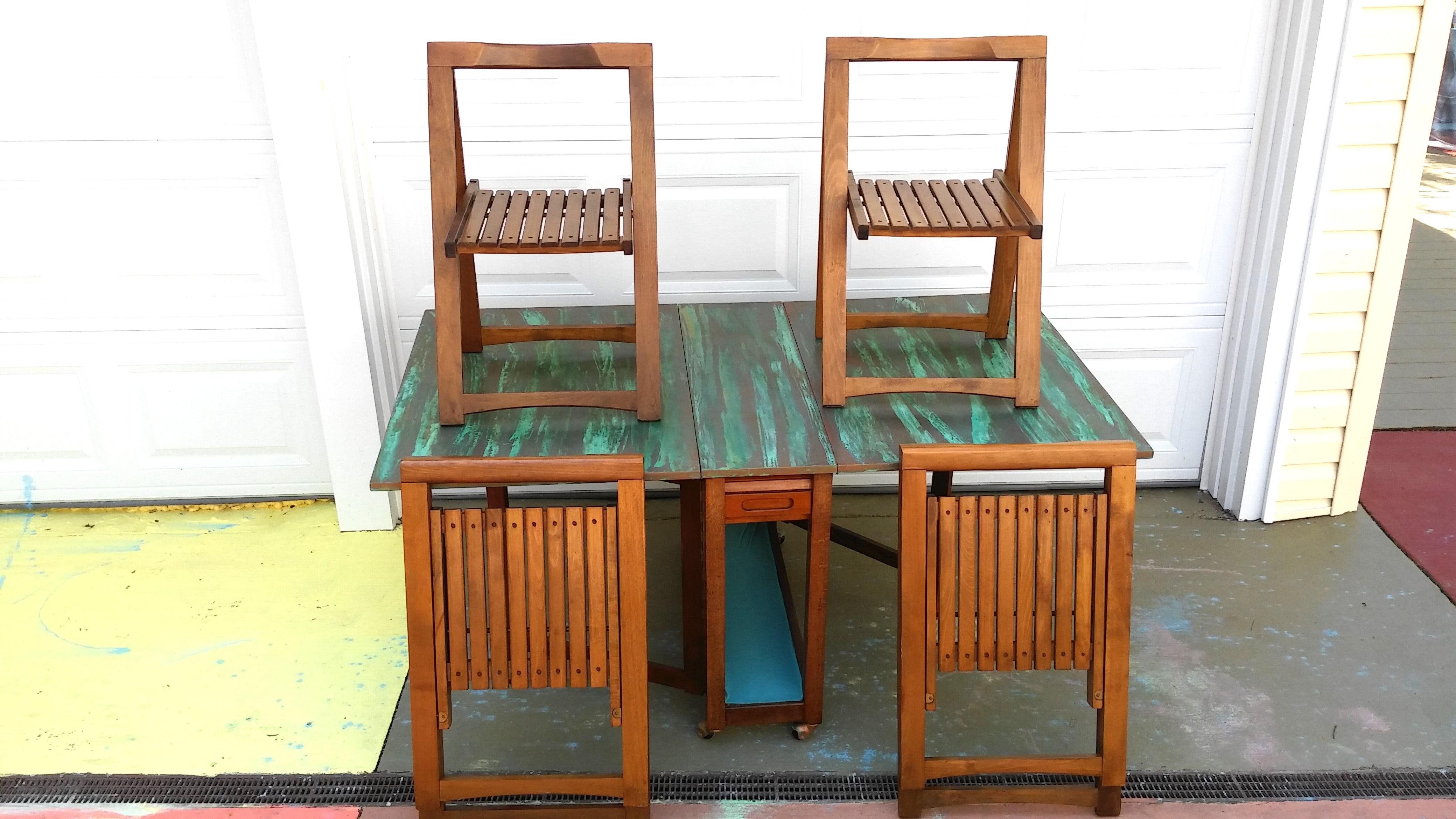 Mid-Century Gateleg Table u0026 Folding Chairs - Set of 4 - Image 8 of  sc 1 st  Chairish & Mid-Century Gateleg Table u0026 Folding Chairs - Set of 4 | Chairish