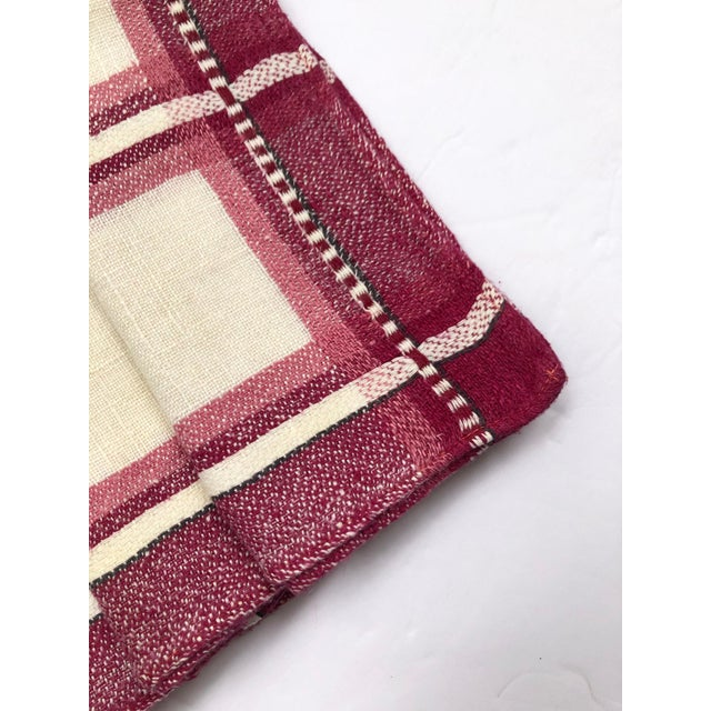 Rustic Vintage Cranberry Plaid Linen Tea Napkins or Guest Towels - Set of 6 For Sale - Image 3 of 5