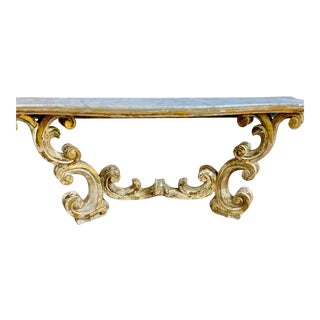 Rococo Painted Carved Parcel Gilt Console With Carrara Marble Top For Sale