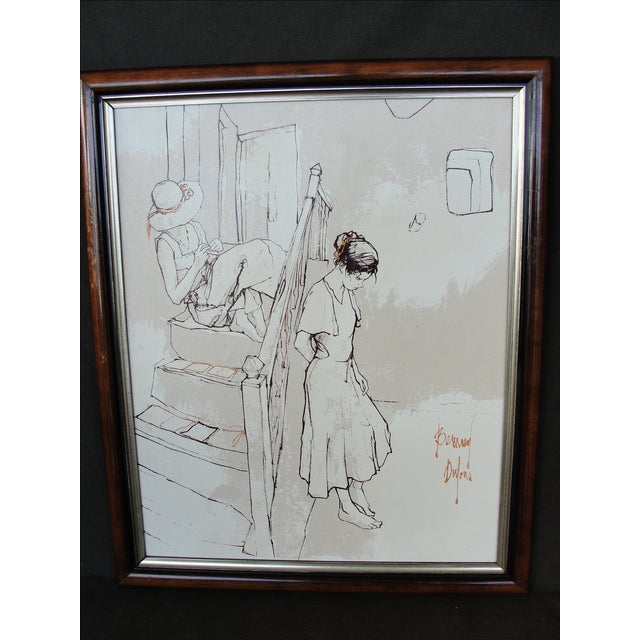 Bernard Dufour Study Painting 2 Girls on Stairs This is a beautiful oil painting on canvas studies of young women by...