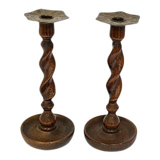 Antique English Oak Candlesticks