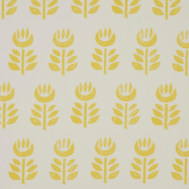 2020s Sample - Schumacher Rosenborg Wallpaper in Yellow For Sale - Image 5 of 5