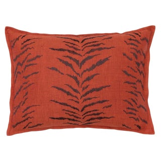Tiger Stripe Pattern Vermilion Pillow For Sale