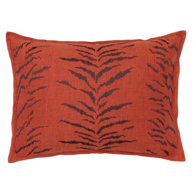 Tiger Stripe Pattern Vermilion Pillow For Sale