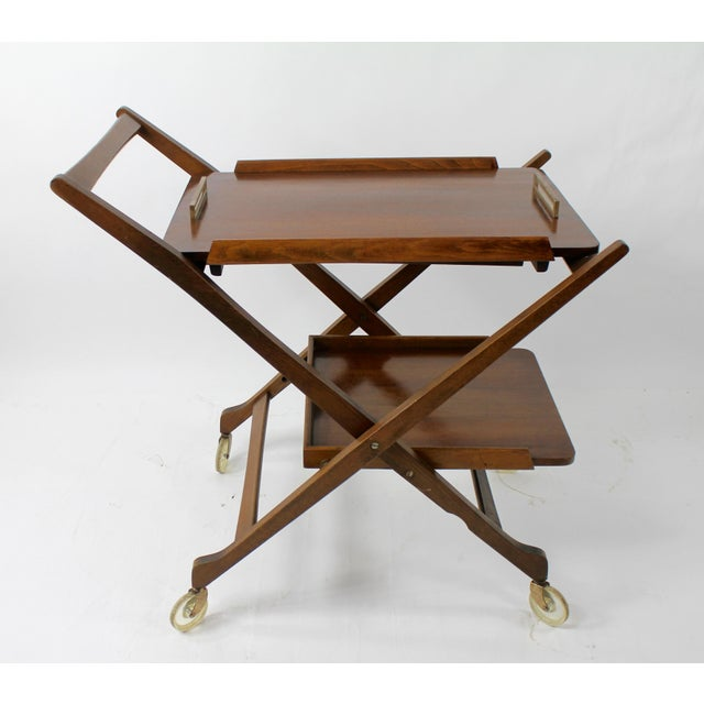 Brown Mid Century Modern Bar Cart Server For Sale - Image 8 of 8