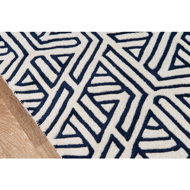 """Contemporary Contemporary Momeni Delhi Hand Tufted Navy Wool Runner - 2'3"""" X 8' For Sale - Image 3 of 6"""