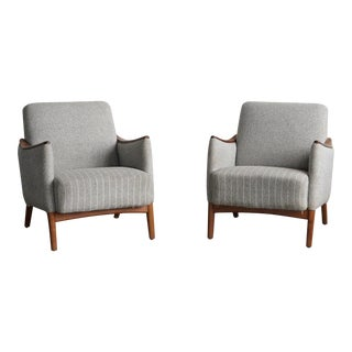 Grey Pinstriped Vintage Danish Lounge Chairs- A Pair For Sale