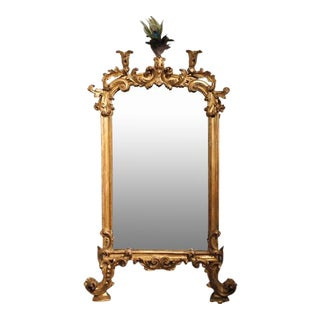 19th Century Italian Giltwood Carved Rococo Mirror