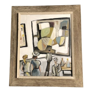Original Contemporary Stewart Ross Modernist Museum Series Painting Vintage Frame For Sale