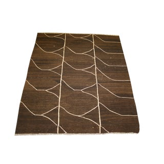 Vintage Mid-Century Kilim Inspired Rug - 4′2″ × 4′9″ For Sale