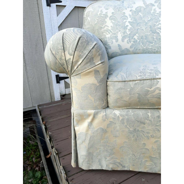 Formal Custom Built Blue on Ivory Silky Damask Upholstered Sofa For Sale - Image 6 of 13