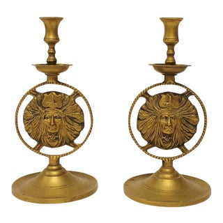20th Century Native American Image Brass Candlesticks - A Pair For Sale