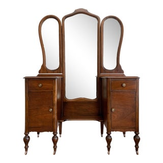 1920s Walnut Vanity Dressing Table With Trifold Mirror For Sale