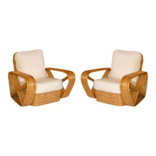Restored Paul Frankl Inspired Square Pretzel Rattan Armchairs, Pair For Sale