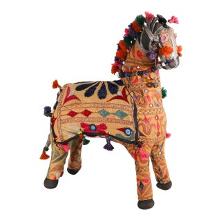 Vintage Handcrafted Embroidered Horse, India, 1950 For Sale