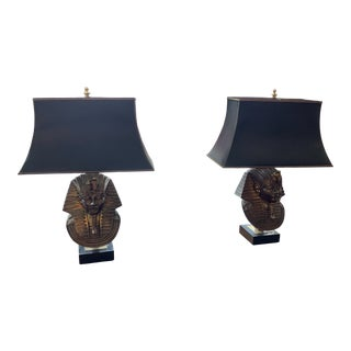 1970s Solid Brass 24 Karat Gold Plated King Tut Table Lamps - a Pair For Sale