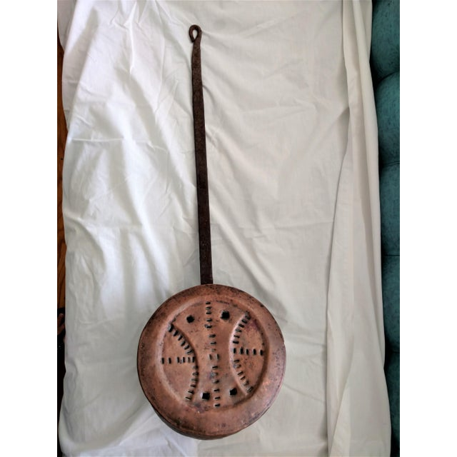 Antique 1840's Copper Bed Warmer Hand Wrought Hearth For Sale - Image 10 of 10