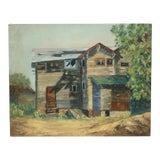 Image of Vintage 1960's Oil FarmHouse Painting on Canvas For Sale