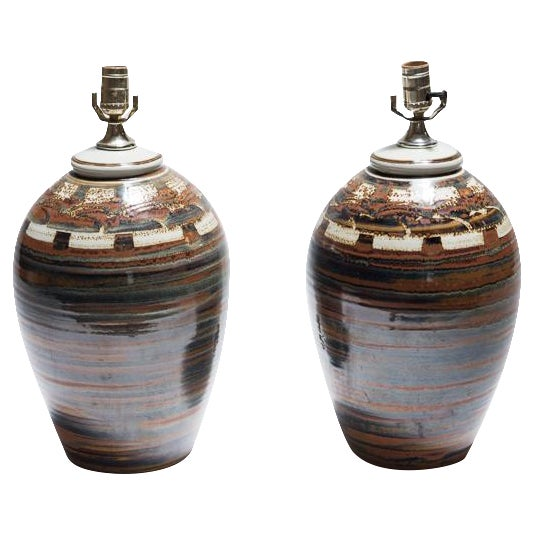 Signed Petteford Studio Pottery Lamps - A Pair - Image 1 of 6