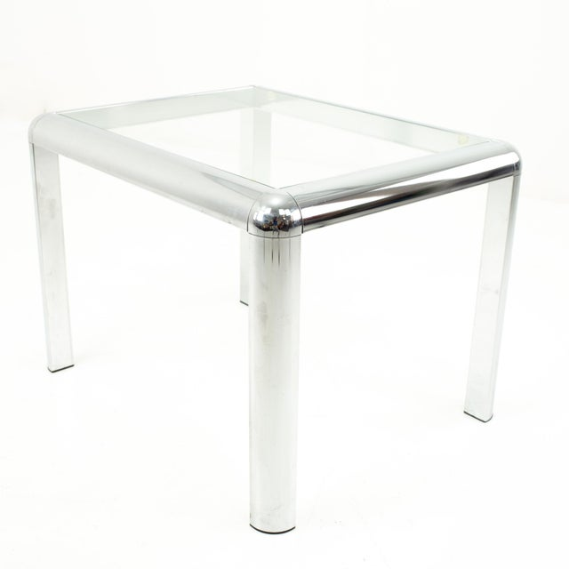 1960s Milo Baughman Style Mid Century Chrome and Glass Side End Table For Sale - Image 5 of 10