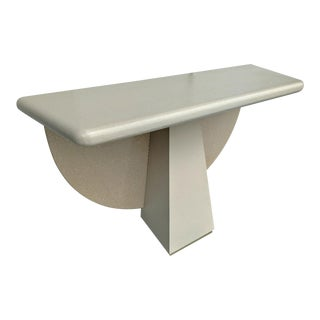 Memphis Styled Pedestal Console, W/ a Half Moon Faux Stone Backboard For Sale