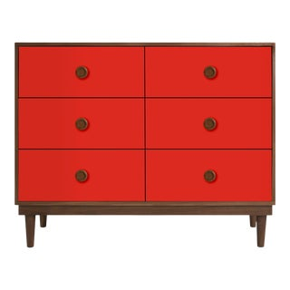Lukka Modern Kids 6-Drawer Dresser in Walnut With Red Finish For Sale