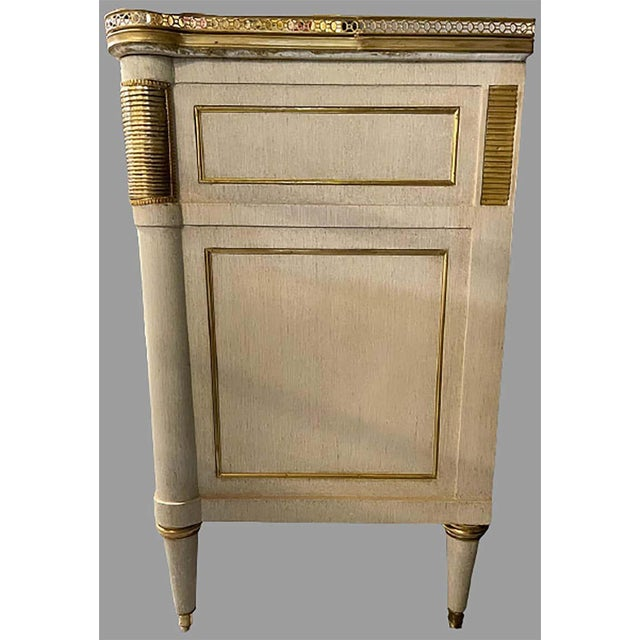 Stone Pair of Jansen Style Marble Top Commodes / Nightstands Painted Linen Finished For Sale - Image 7 of 11