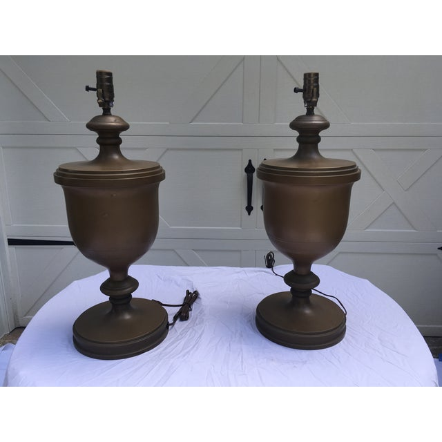 Chapman Brass Urn Lamps, a Pair For Sale In Atlanta - Image 6 of 10