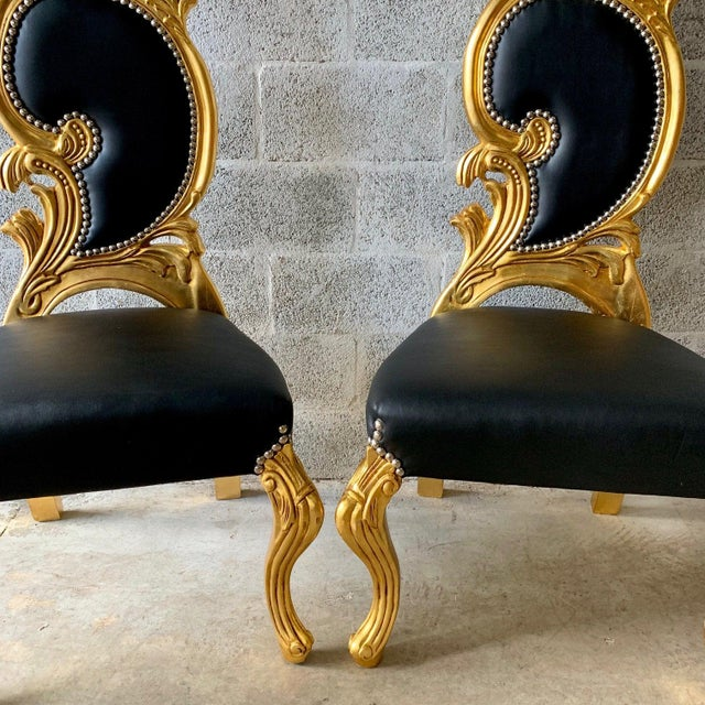 Black Italian Baroque White Leather and Gold Leaf Finish Chairs- A Pair For Sale - Image 8 of 12