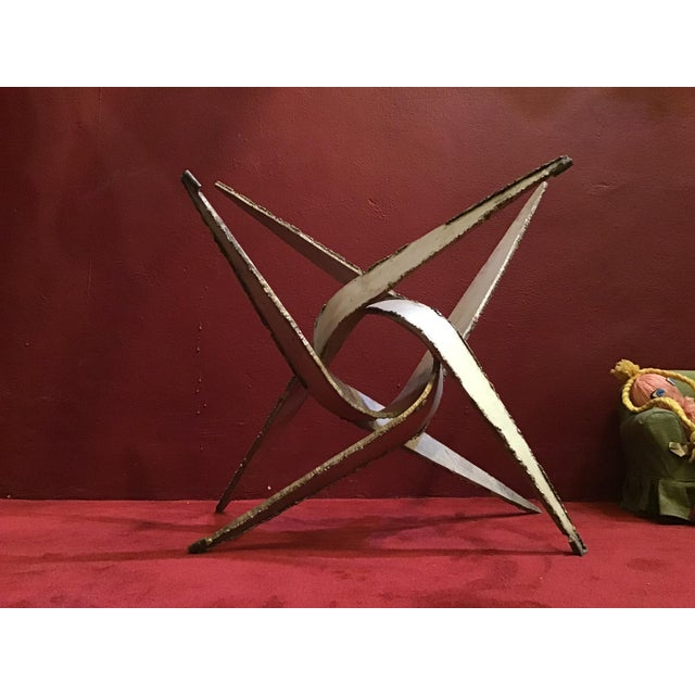 1960s 1960s Silas Seandel Brutalist Iron Silver Coffee Table Base For Sale - Image 5 of 10