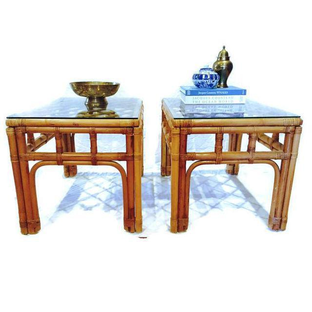 Vintage Bamboo Fretwork End Tables Glass Top Set - a Pair - Image 5 of 7