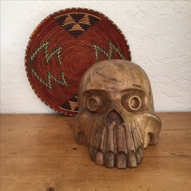 Vintage Paper Mache Mold Wood Skull - Image 3 of 8