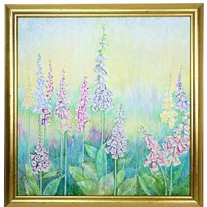 Vintage Pastel Drawing - Foxgloves - Image 1 of 5