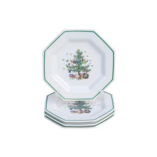 Octagonal Japanese Christmas Plates - Set of 4 For Sale